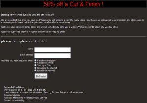 salon promotional voucher page