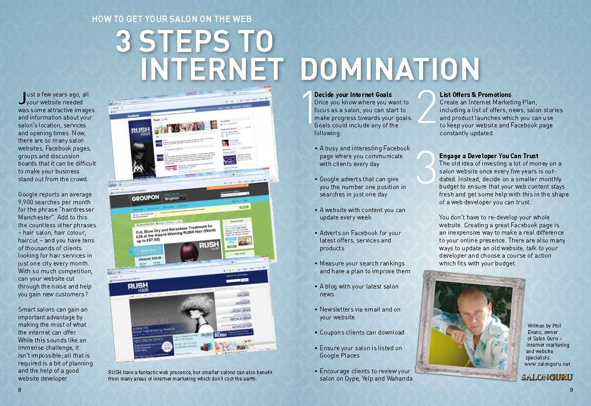 3 Steps to Internet Domination – for your Salon