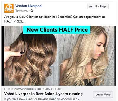 Salon New Client facebook campaign