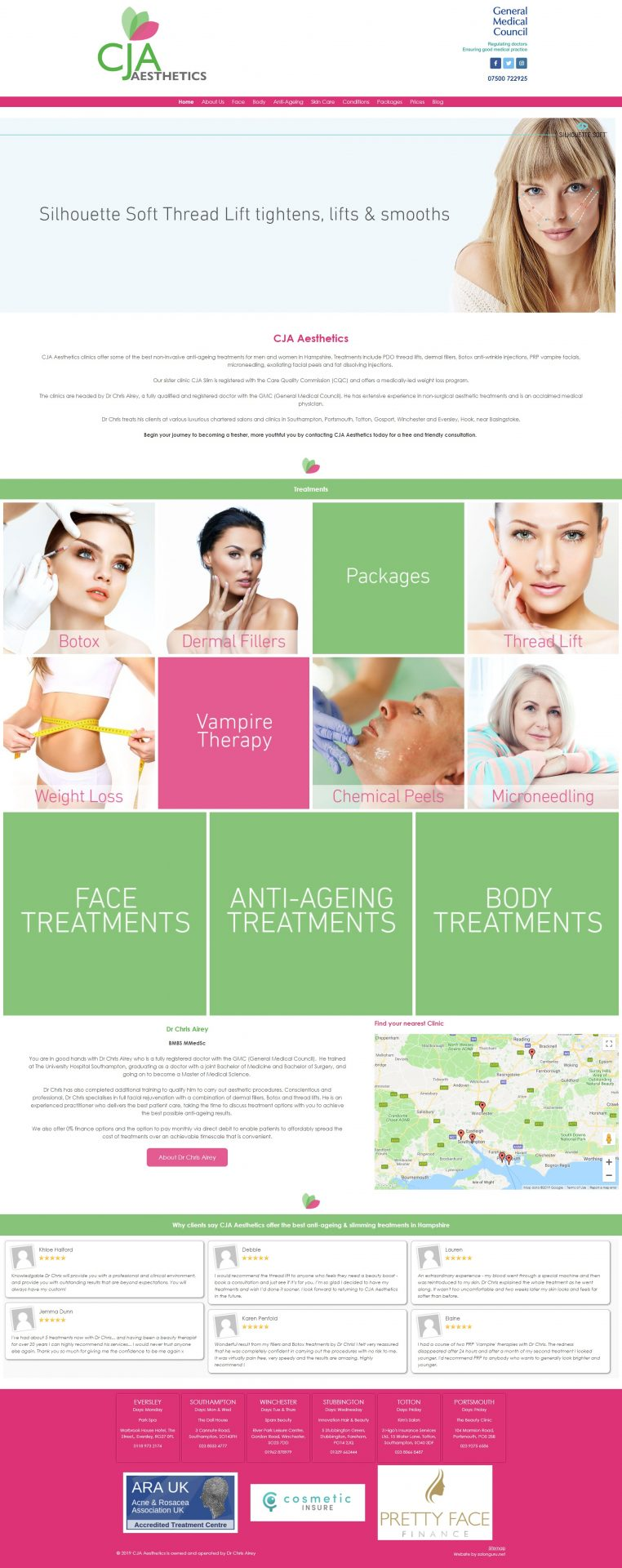 CJA Aesthetics website