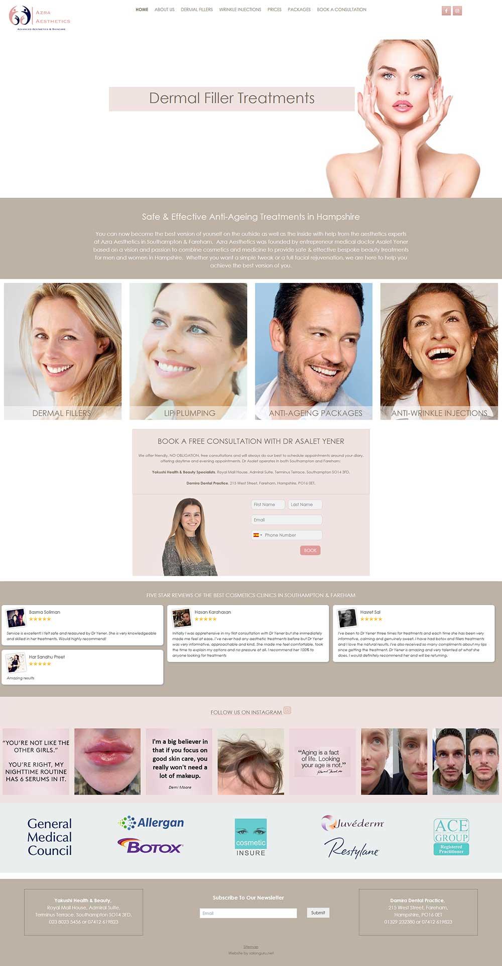 azra-aesthetics website