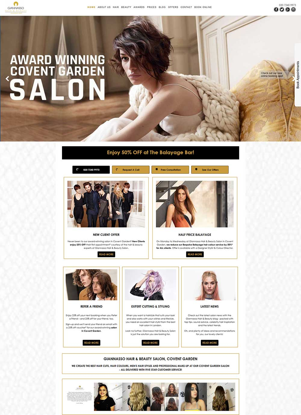 Giannasso Hair Salon website