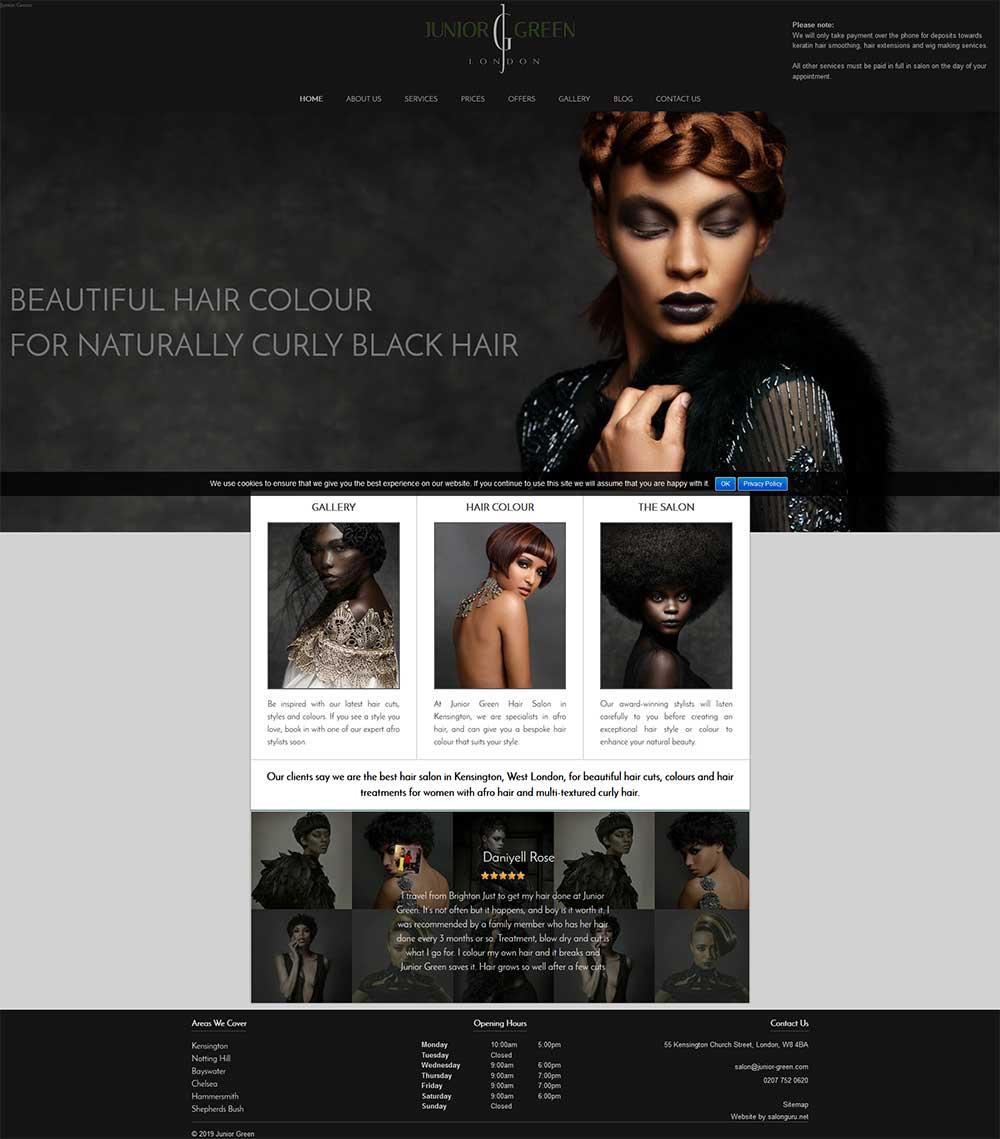Junior Green Hair Salon website