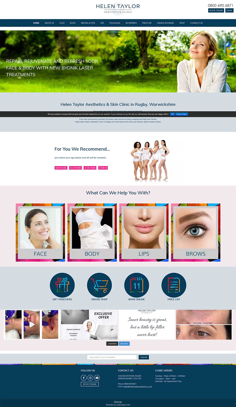 Helen Taylor Aesthetics website